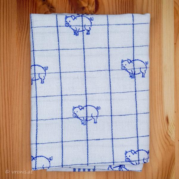 Geschirrtuch mit Glücksschweinen in Blau Halbleinen