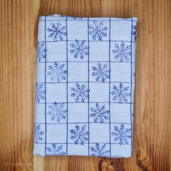 Geschirrtuch mit Schneeflocken in Blau Halbleinen