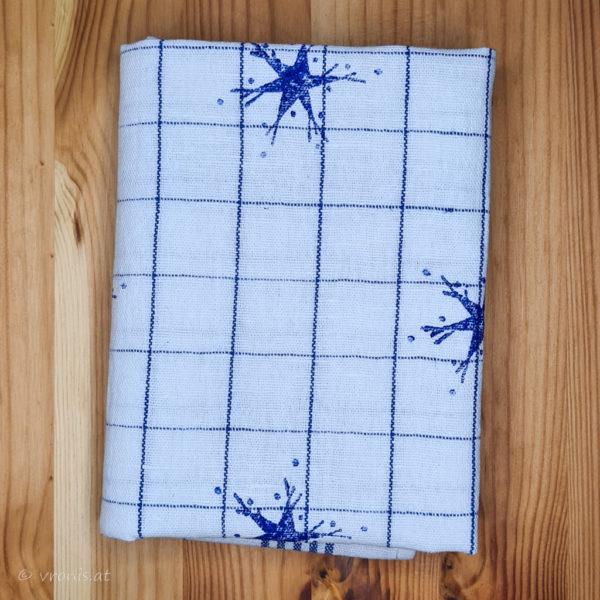 Geschirrtuch mit Sternen in Blau Halbleinen