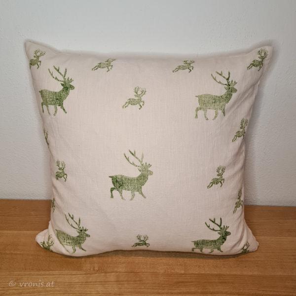 Polster mit Hirschen in Grün Leinen Weiß