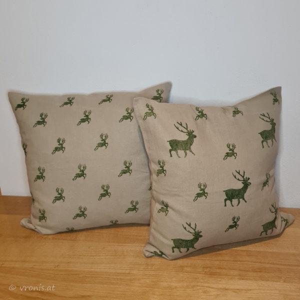 Pölster mit Hirschen in Grün Leinen